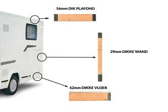 Dicar Cocoon Wintergeschikt dankzij dubbele dikte dakisolatie (56mm) en dikke bodem (62mm)